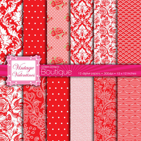 Digital Paper Pack Vintage Valentines Red  - 1