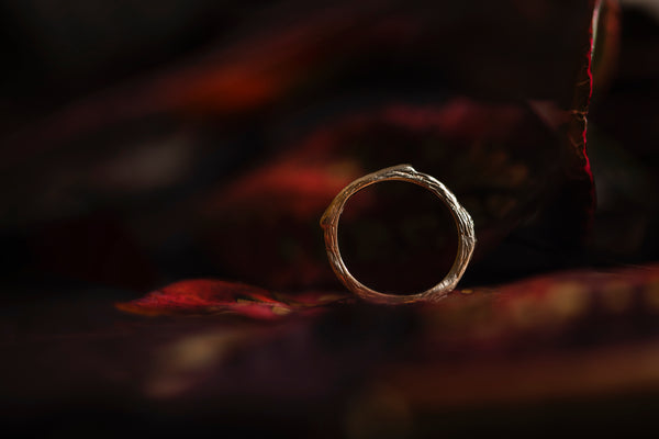 Photography by Patrick Ford of the 9ct Gold Twig Ring