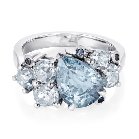 Pear shaped sapphire and diamond engagement ring