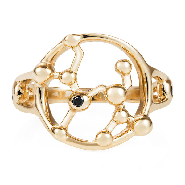 Gold Astrology Constellation Ring with Black Diamonds