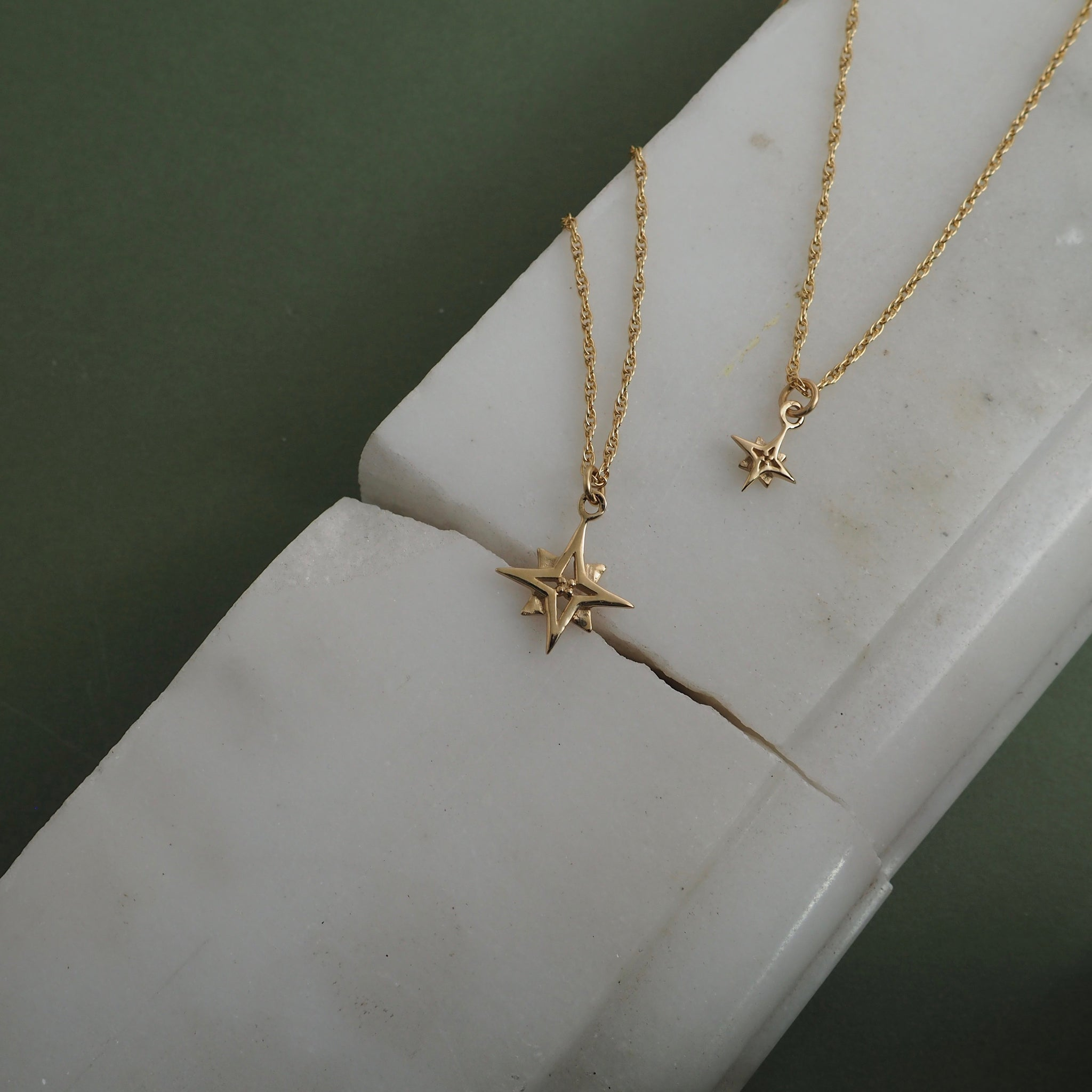 9ct Gold Compass Star Necklace by Yasmin Everley