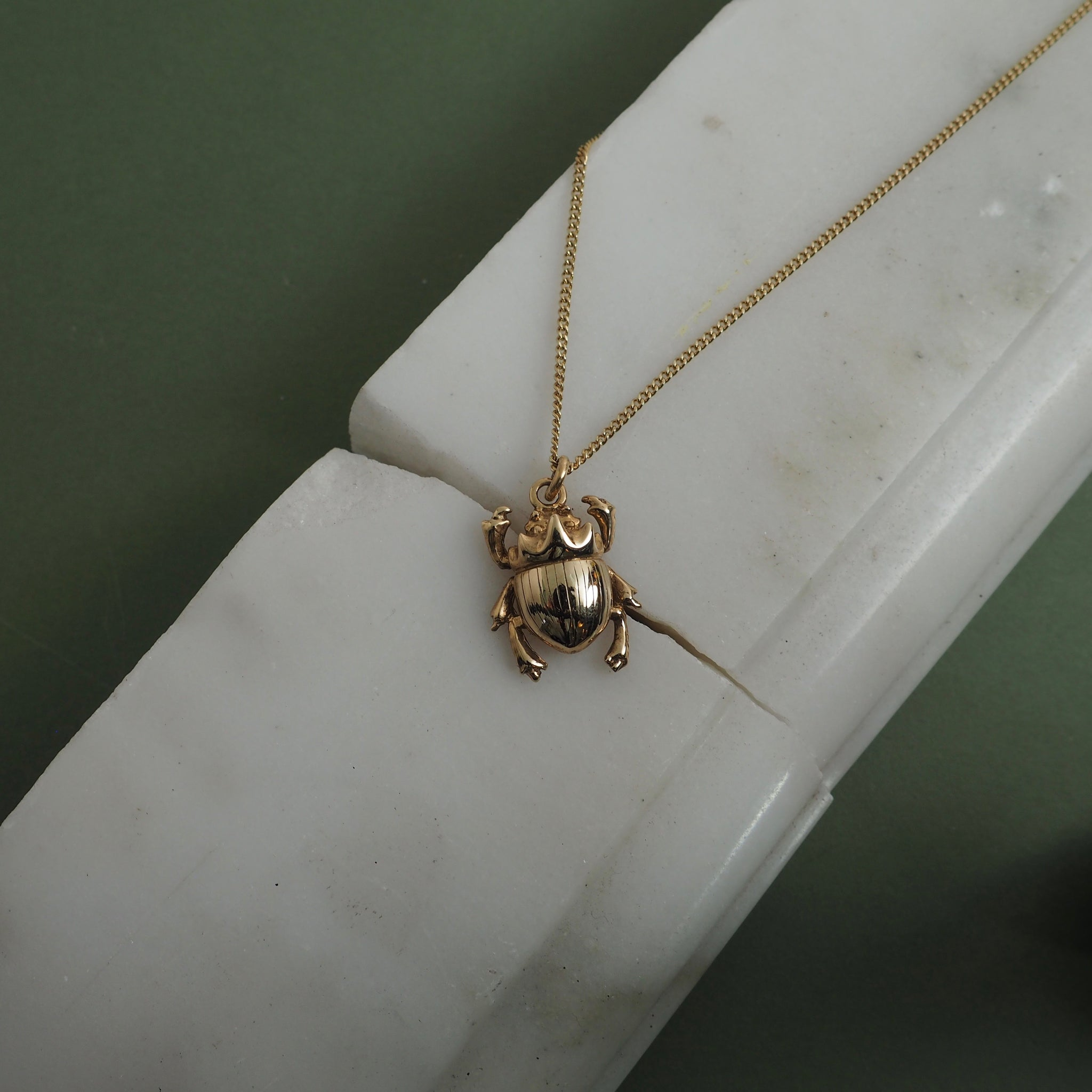 9ct Gold Little Scarab Beetle Necklace by Yasmin Everley