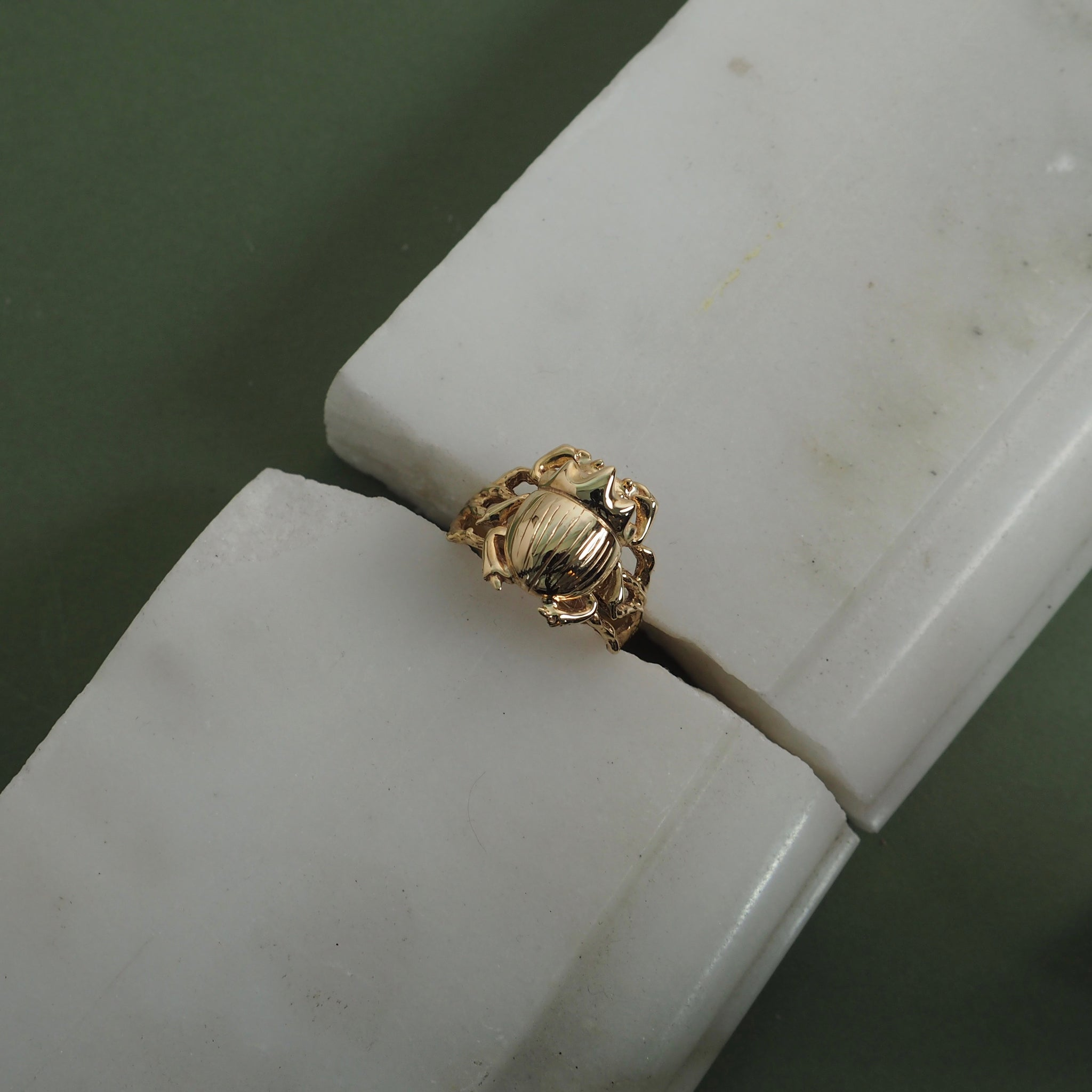 Gold Little Scarab Ring by Yasmin Everley