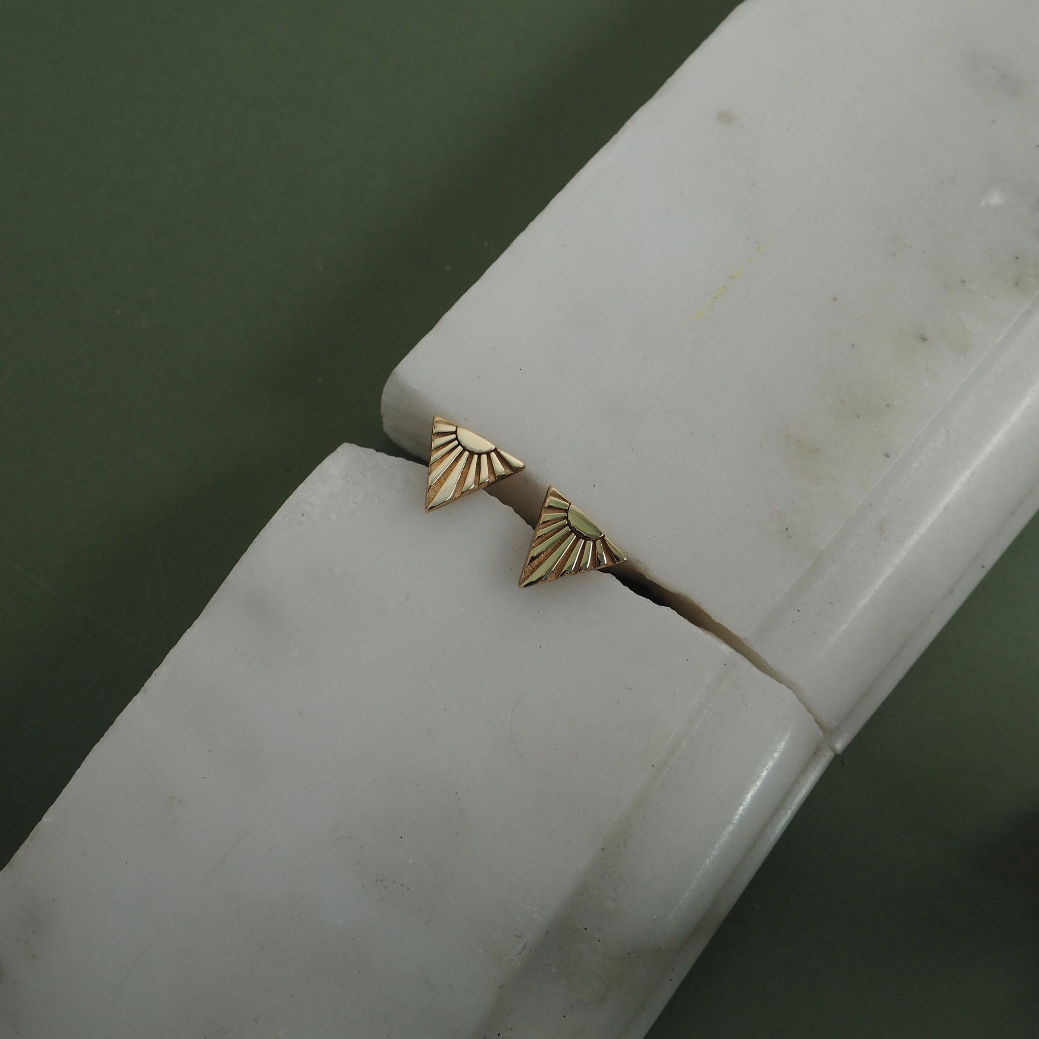 9ct Gold Ray V Ear Studs by Yasmin Everley