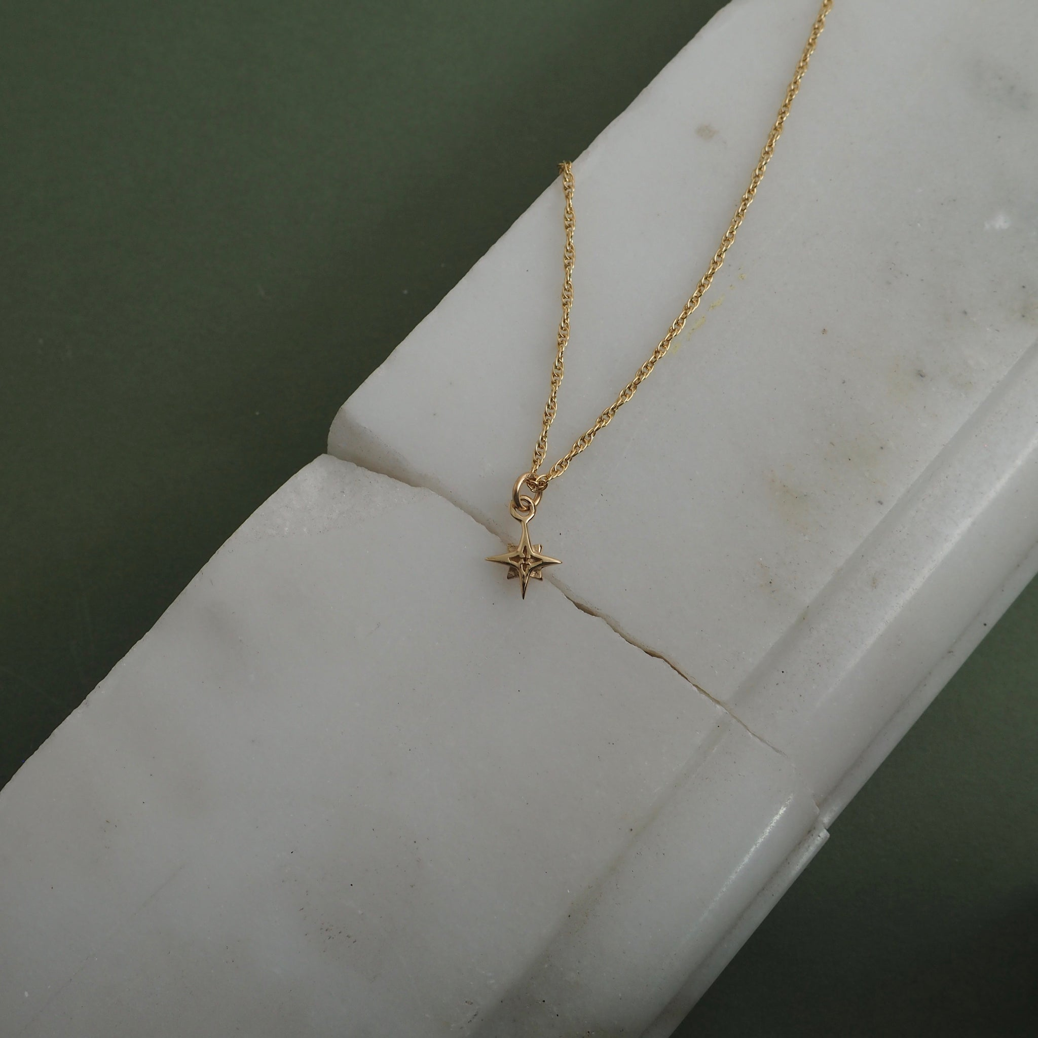 9ct Gold Small Compass Star Necklace by Yasmin Everley