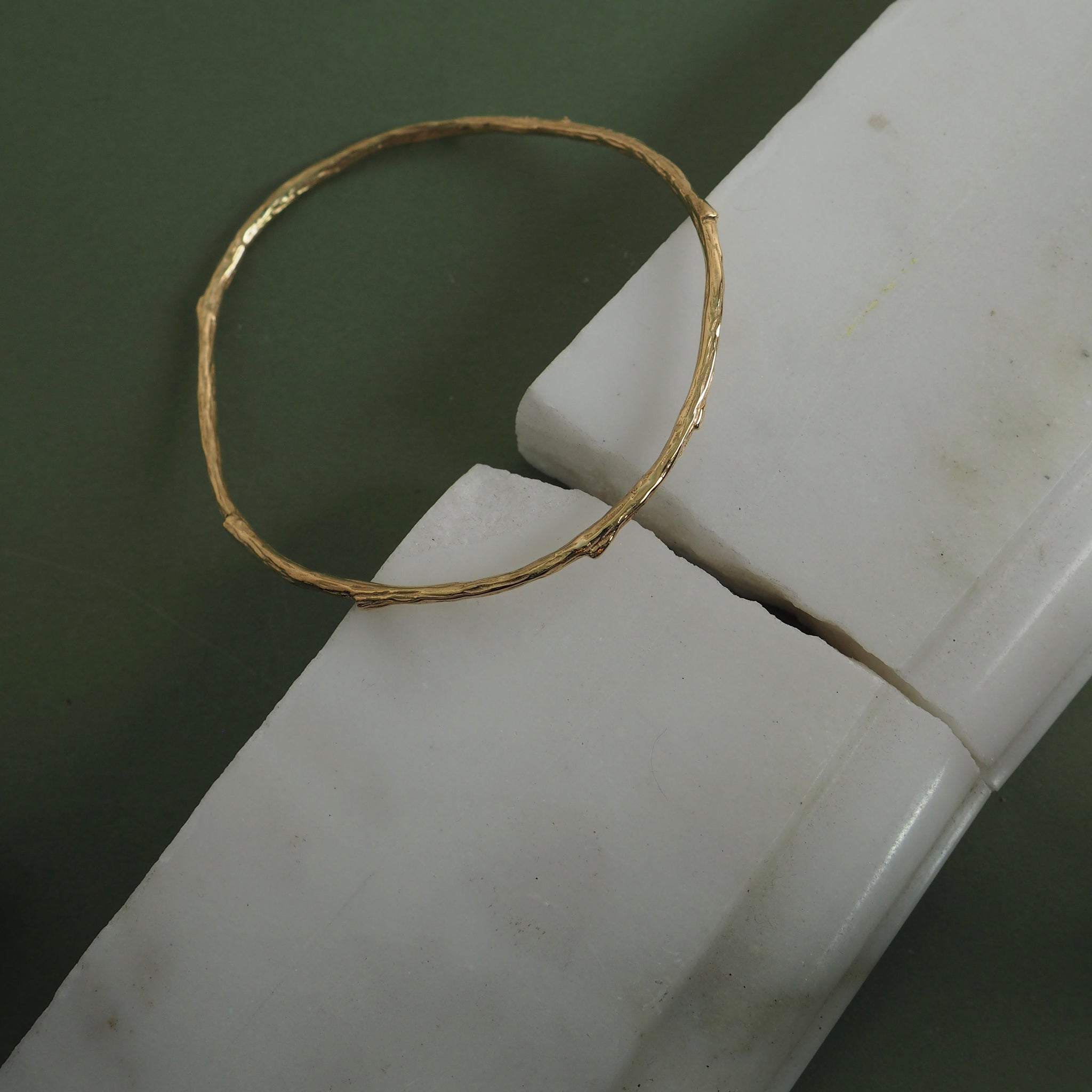 9ct Gold Twig Bangle by Yasmin Everley