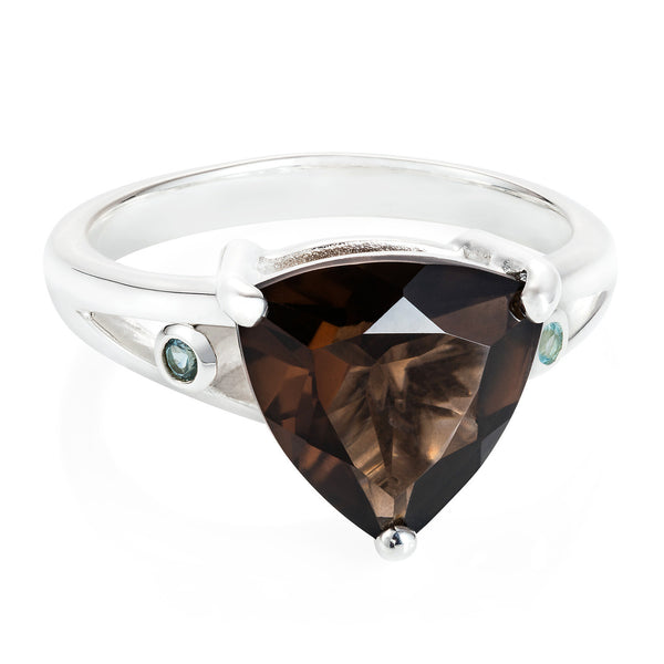 Smokey Quartz Trillion Cocktail Ring