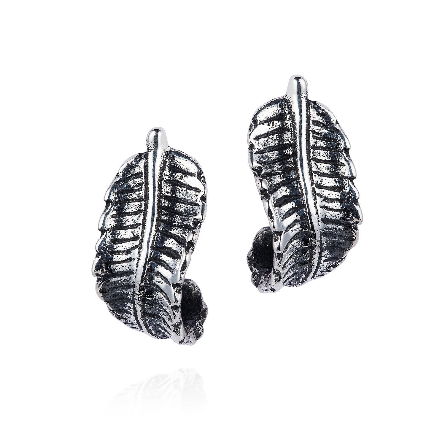 Curled silver Fern Earrings