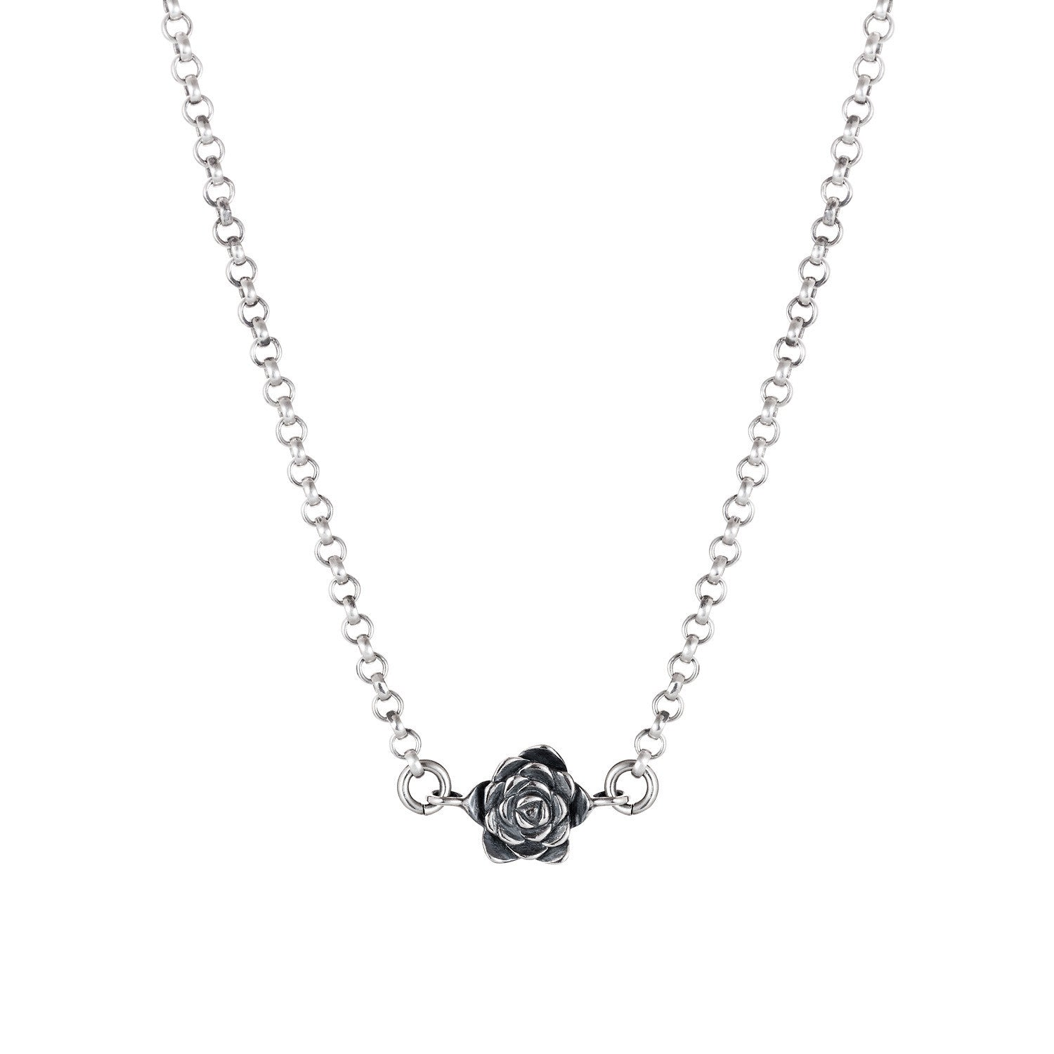Dark Silver Echeveria Succulent Necklace