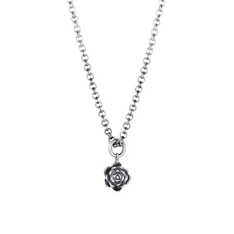Dark Silver Echeveria Pendant Succulent Necklace