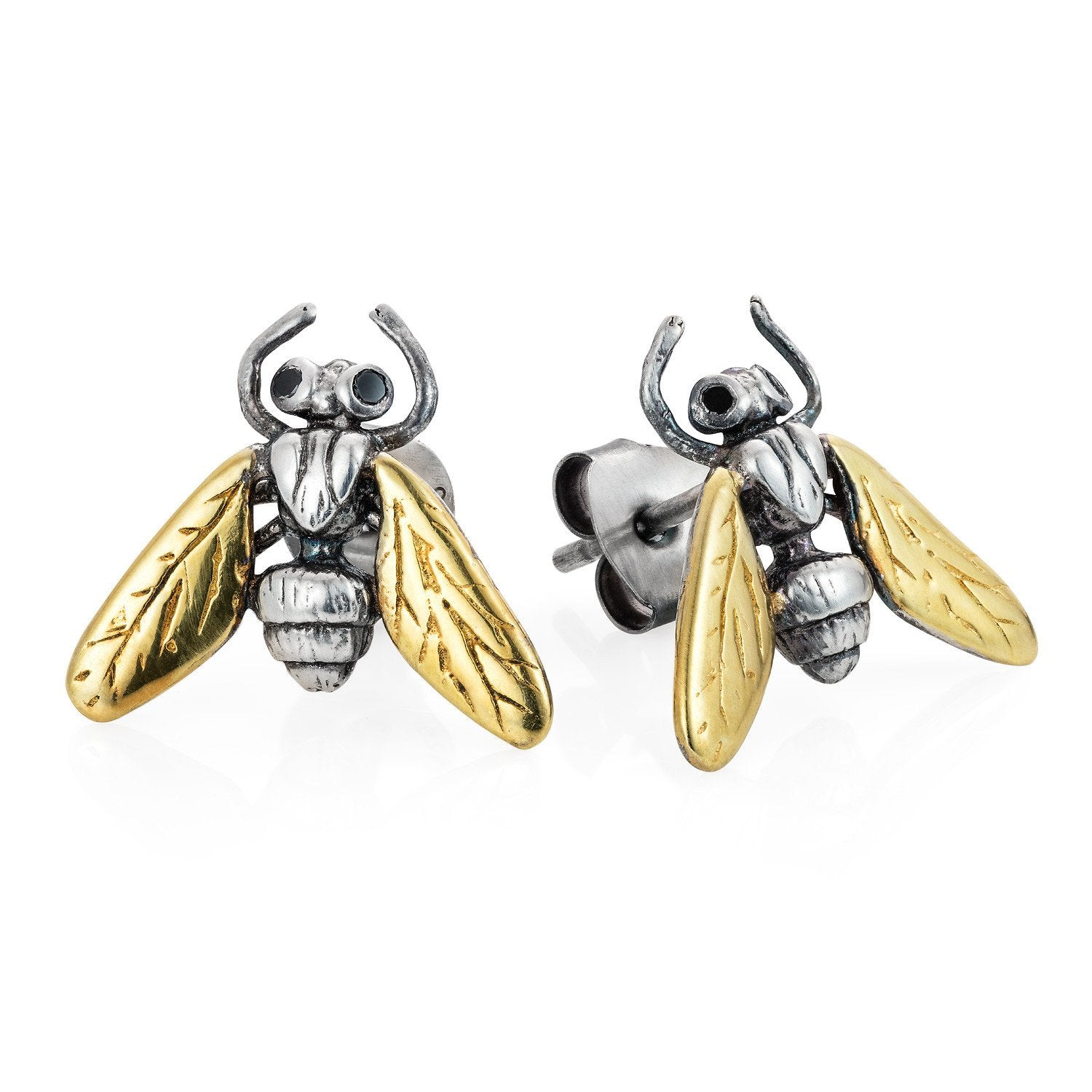 Gilded Hoverfly stud earrings