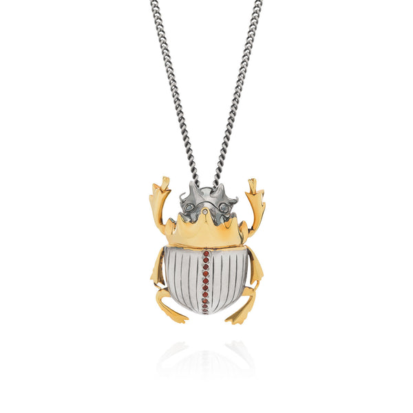 Gilded Scarab Beetle Necklace with garnets and diamond