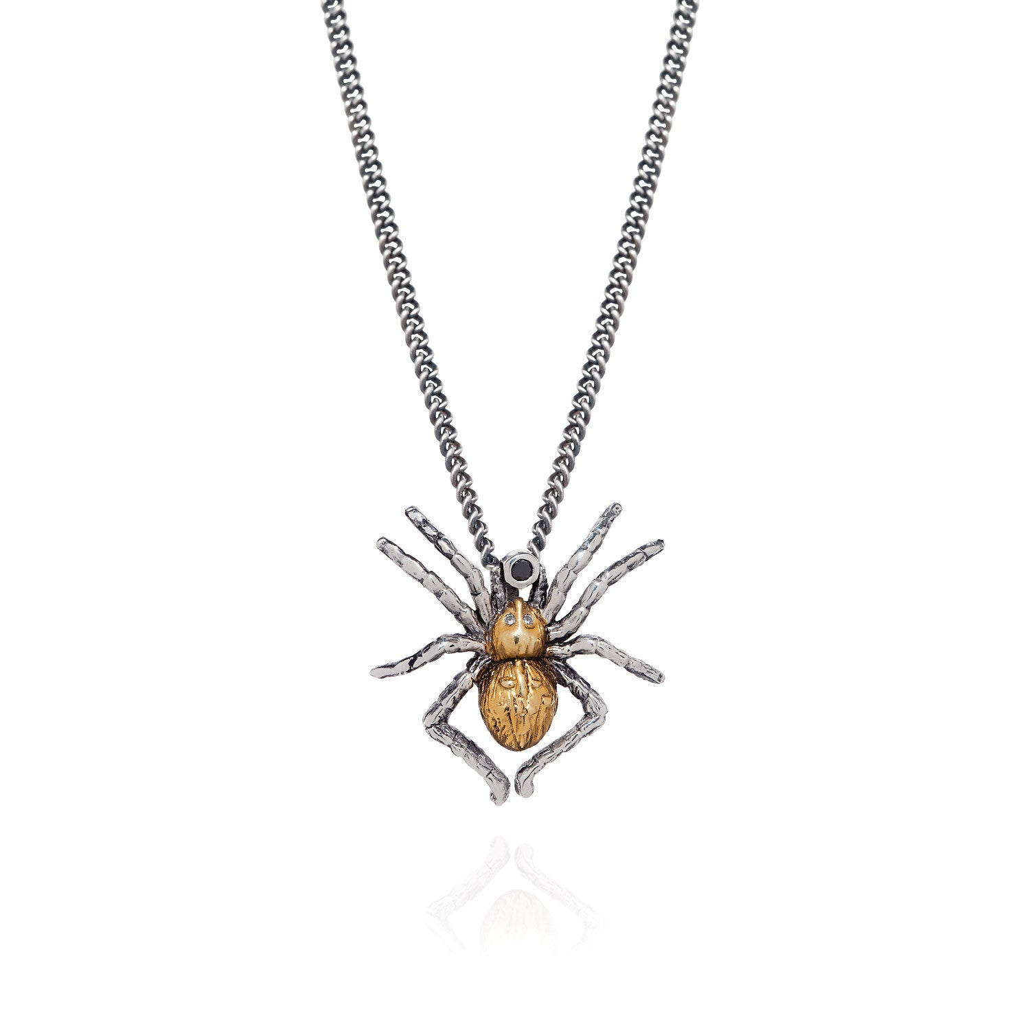 Gilded Spider with black diamond and white diamonds