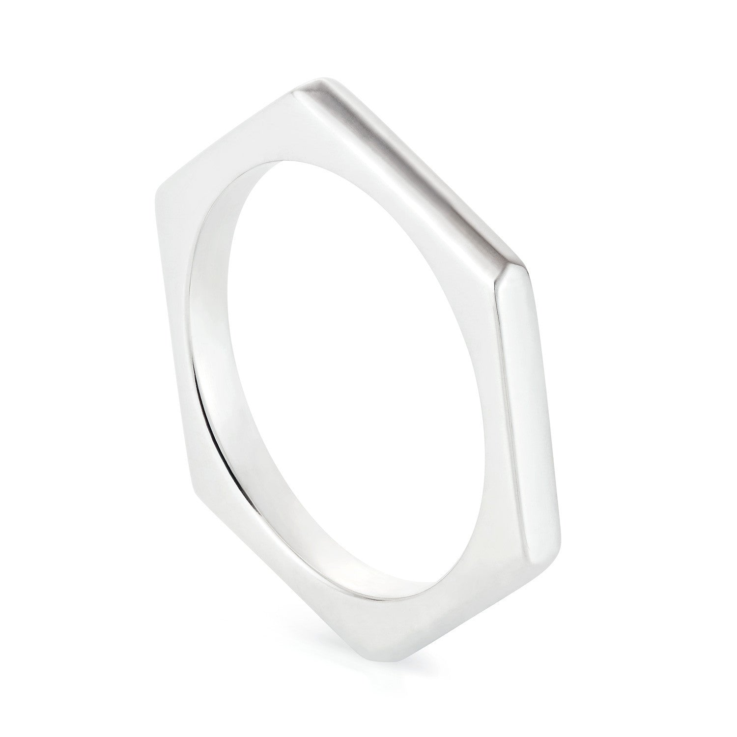 Silver Hexagon Ring