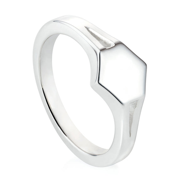 Silver Hexagon Signet Ring
