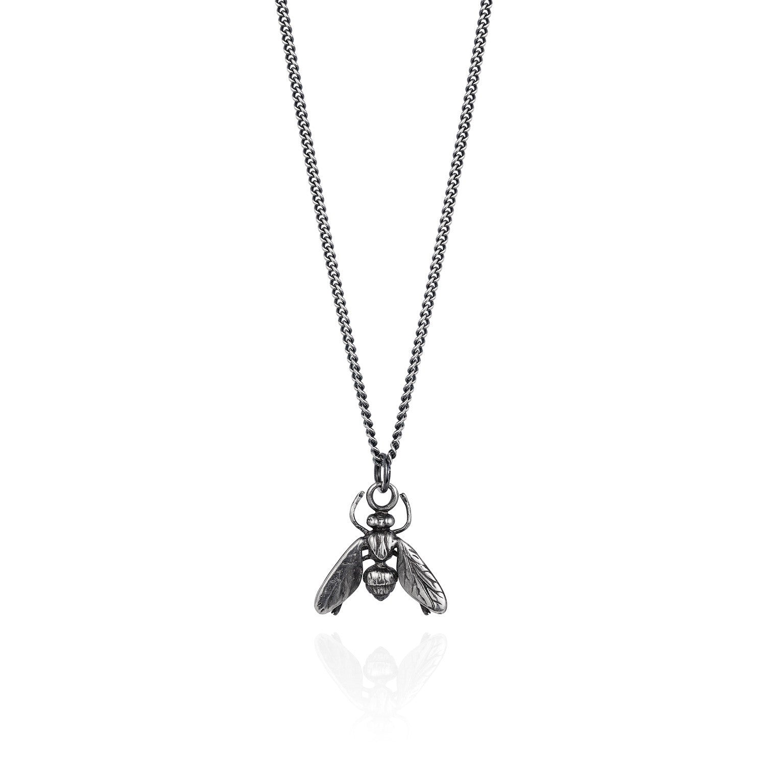 Dark Silver Hoverfly Necklace