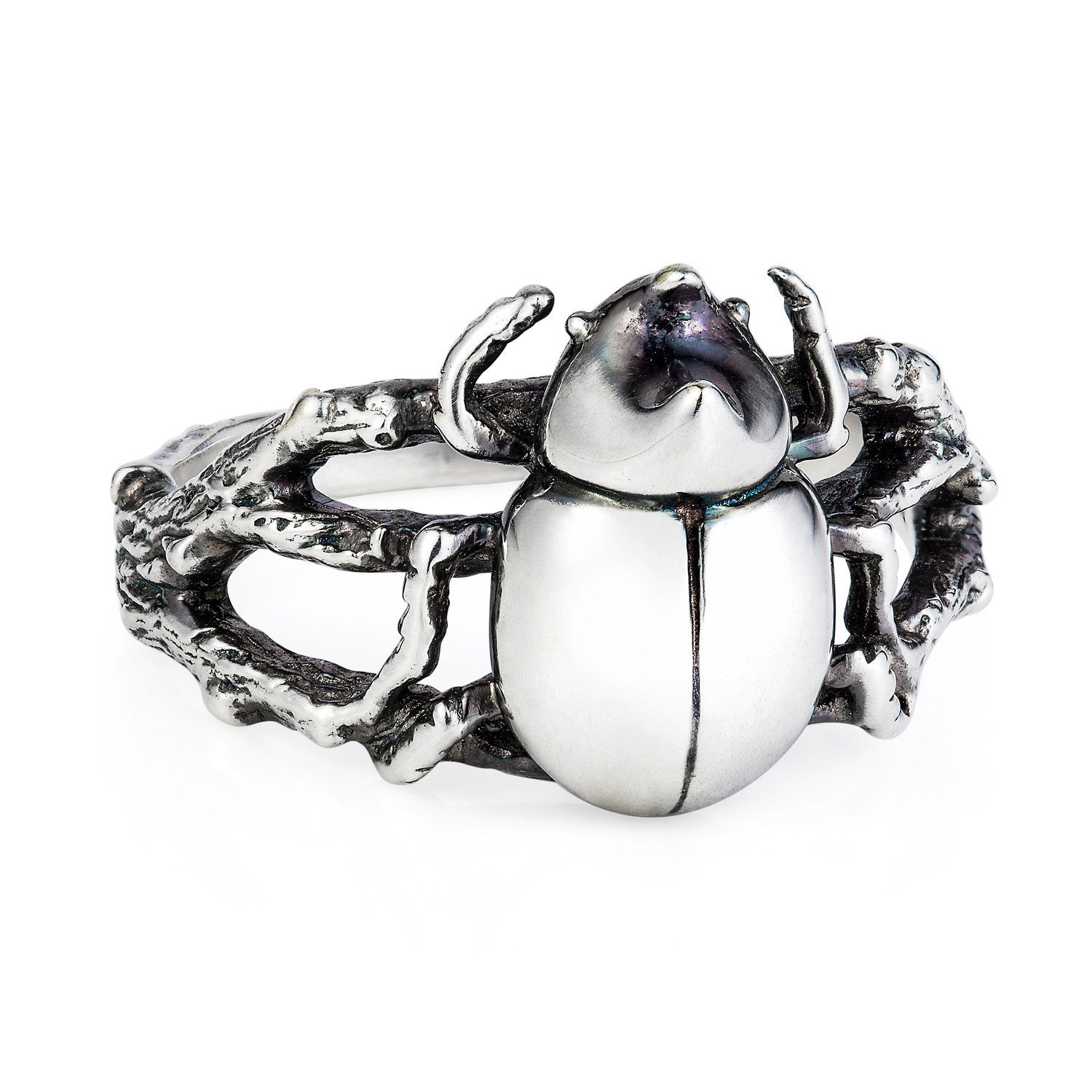 Dark Silver Little Rhino Beetle Ring