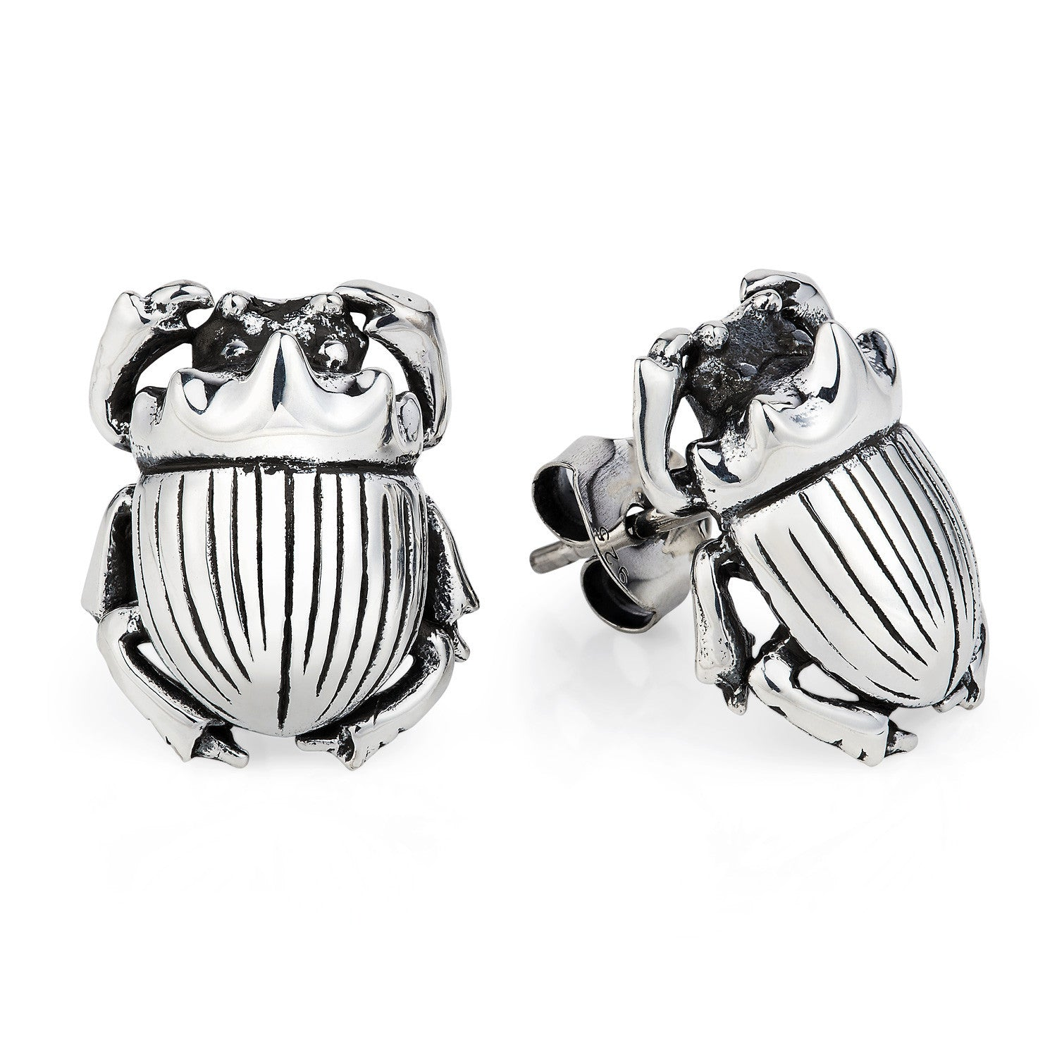 Dark Silver Little Scarab Earrings