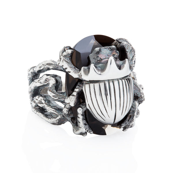 Little Scarab Beetle Cocktail Ring Smokey Quartz
