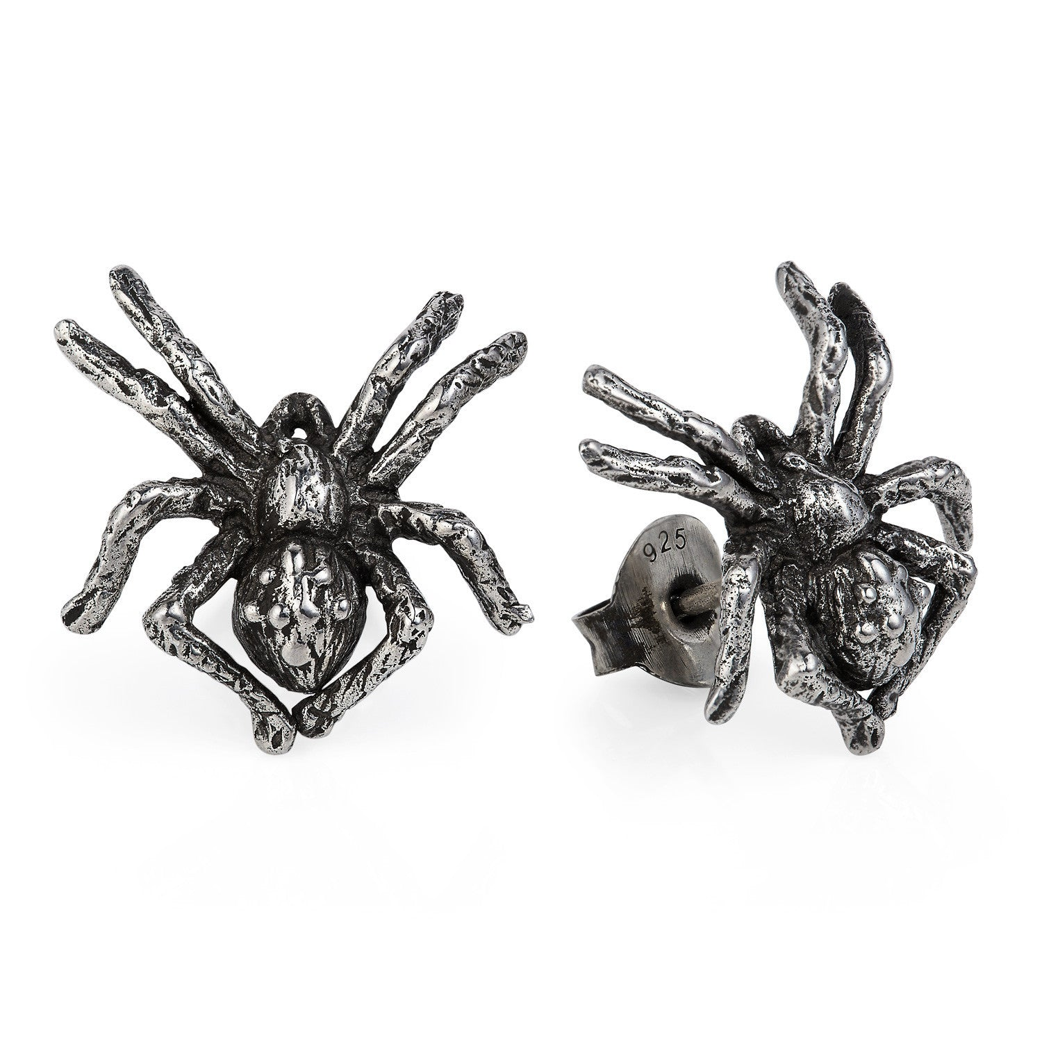 Dark Silver Little Spider Earrings