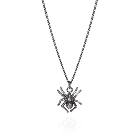 Dark Silver Little Spider Necklace