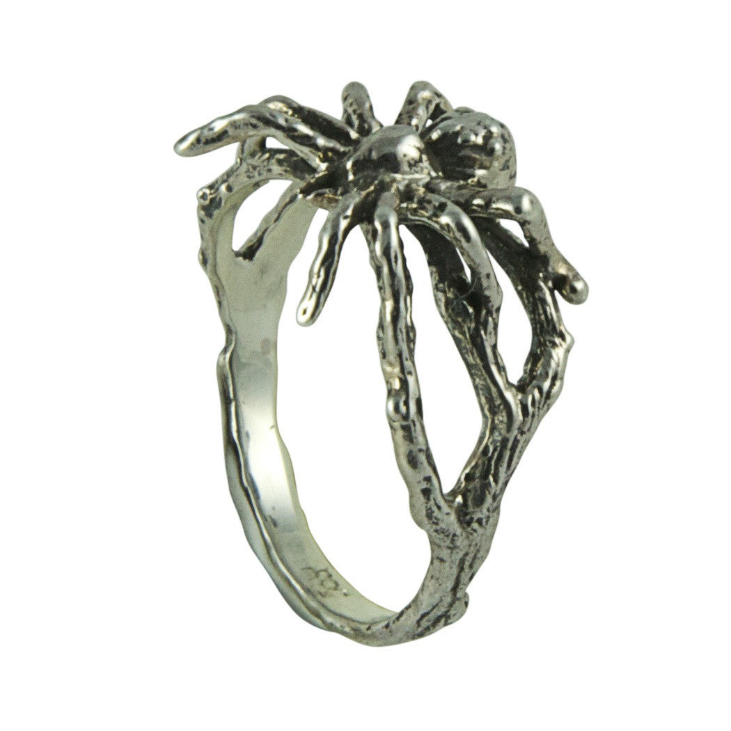 Dark Silver Little Spider Ring