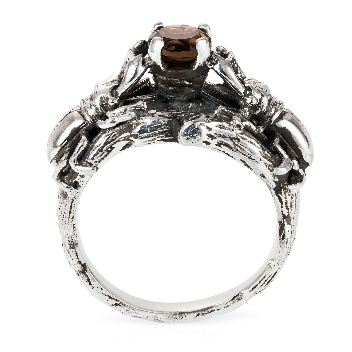 Little Stag Beetle Cocktail Ring with smokey quartz