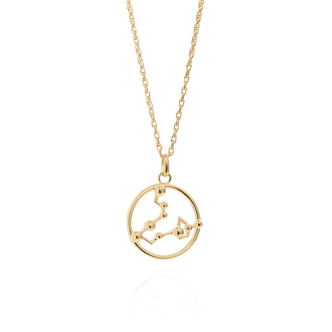 Gold Pisces Astrology Necklace