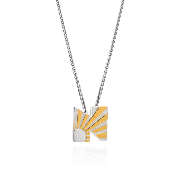Art Deco Necklace Letter N Necklace