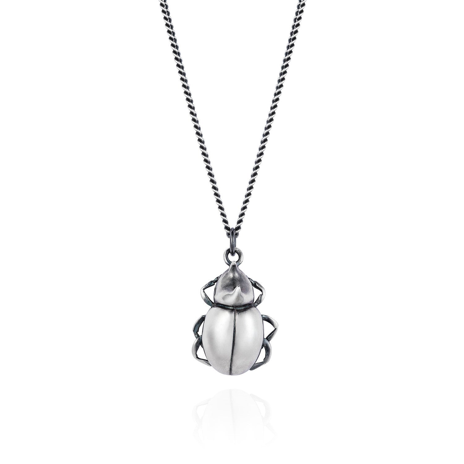 Dark Silver Rhino Beetle Necklace
