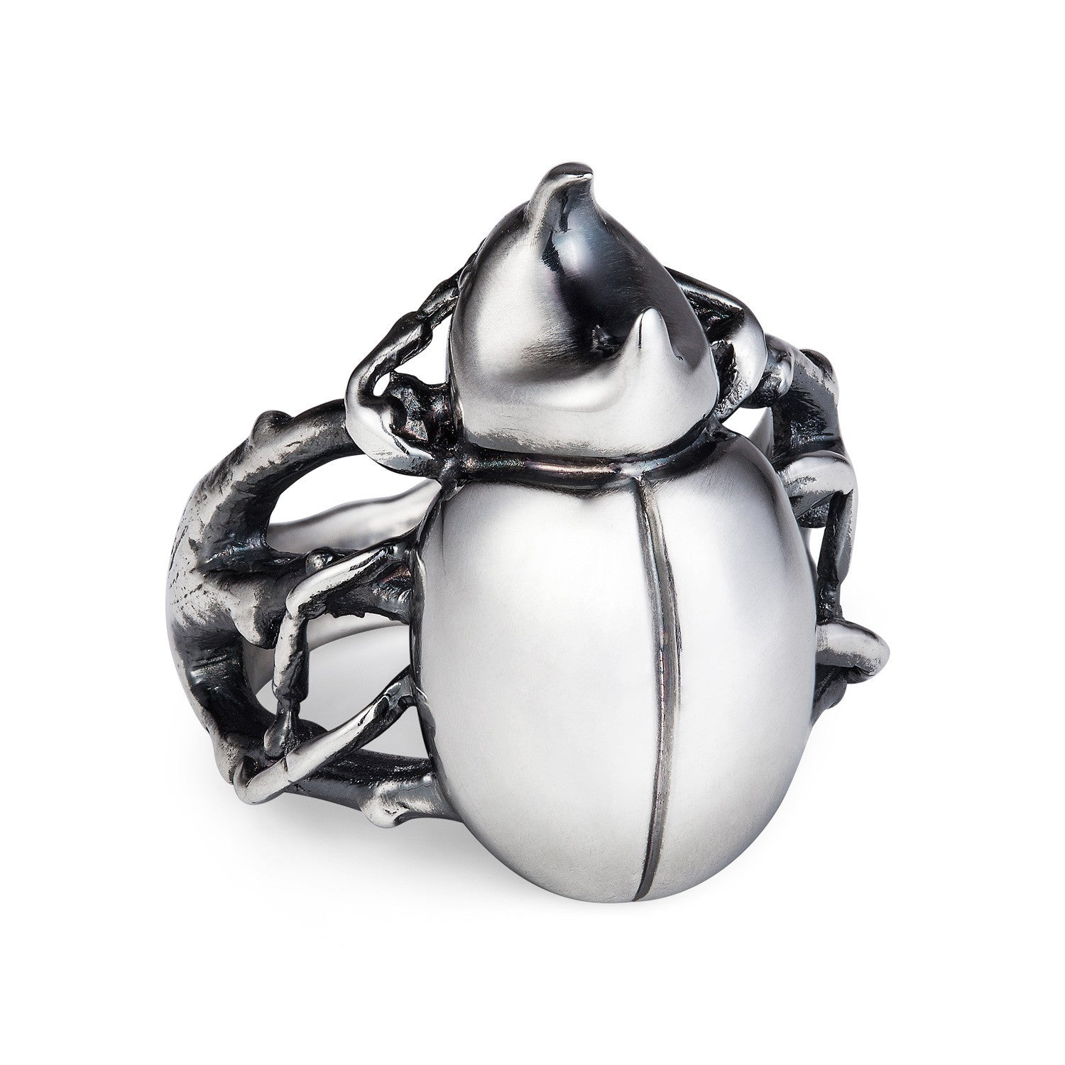 Dark Silver Rhino Beetle Ring