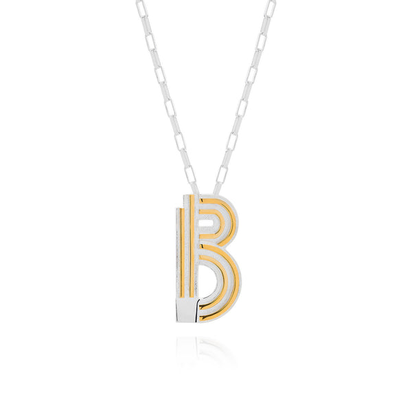 Art Deco Necklace Letter B Necklace