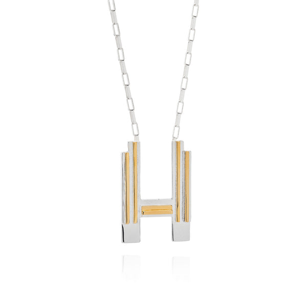 Art Deco Necklace Letter H Necklace