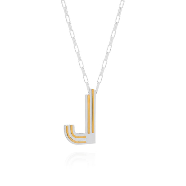 Art Deco Necklace Letter J Necklace