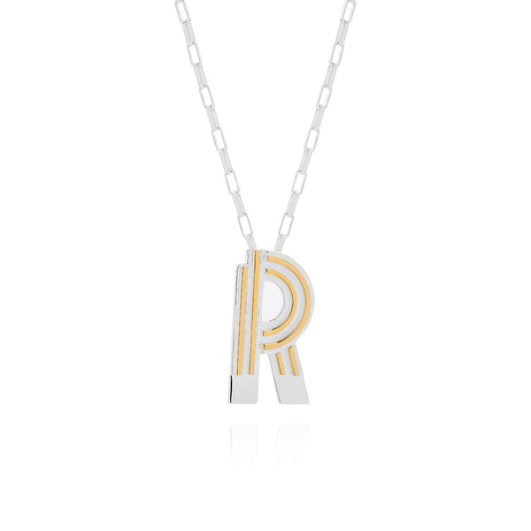 Art Deco Necklace Letter R Necklace