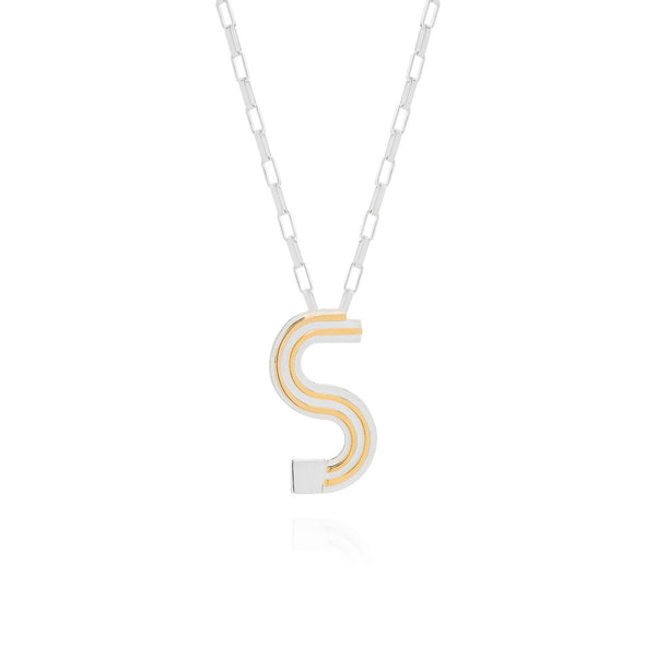 Art Deco Necklace Letter S Necklace