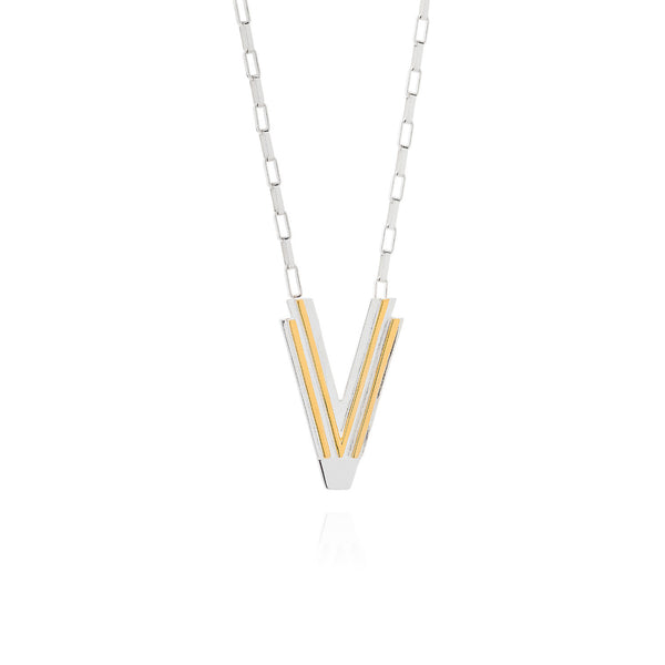 Art Deco Necklace Letter V Necklace