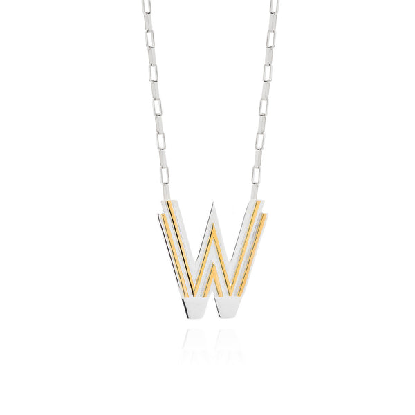 Art Deco Necklace Letter W Necklace