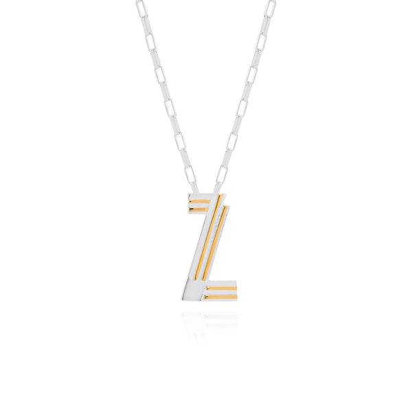 Art Deco Necklace Letter Z Necklace