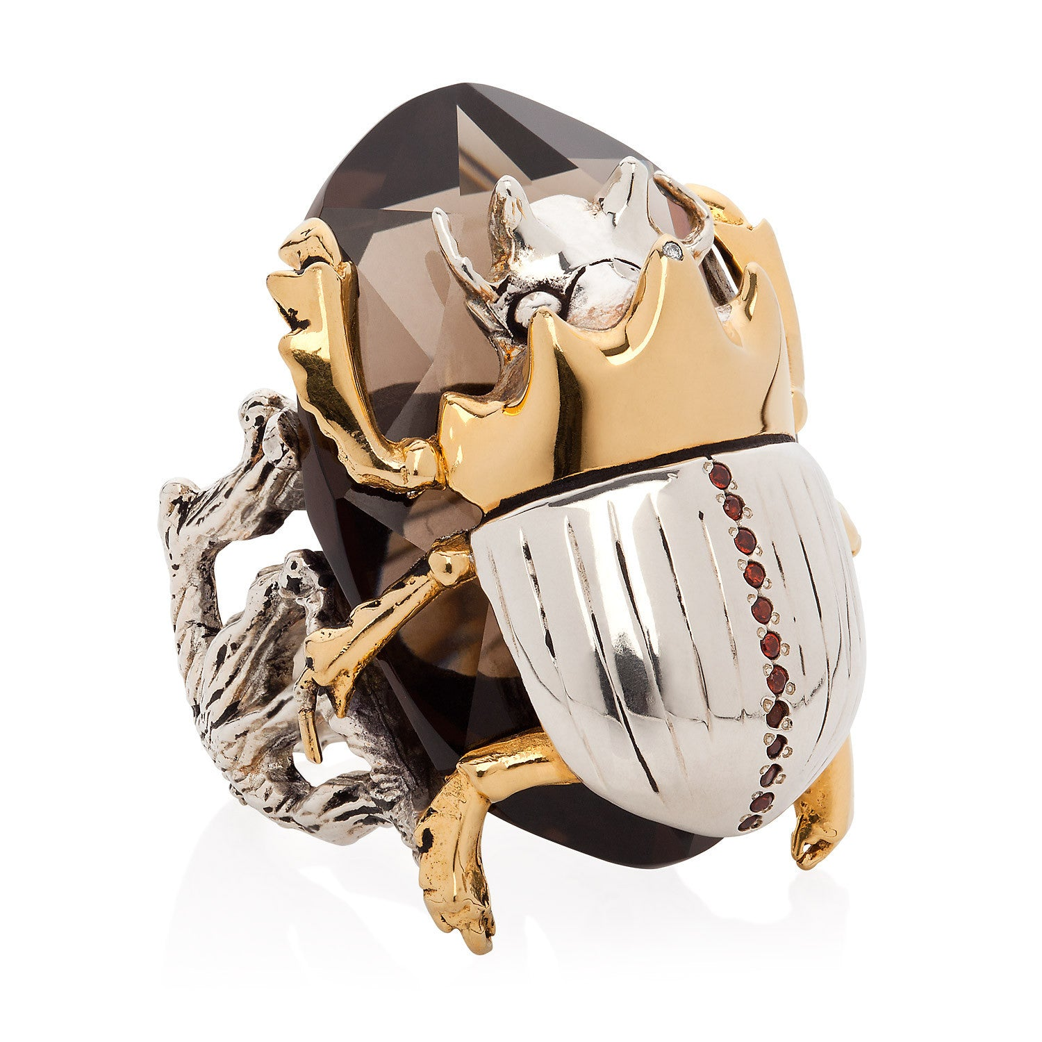 Gilded Scarab Cocktail Ring with garnet diamond smokey quartz