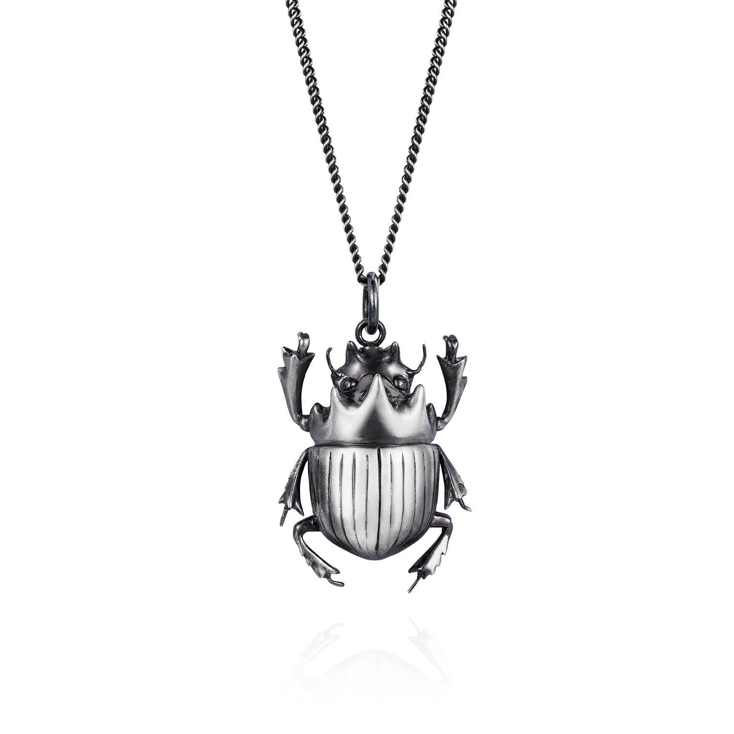 Dark Silver Scarab Beetle Necklace