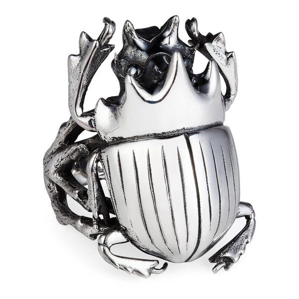 Dark Silver Scarab Ring