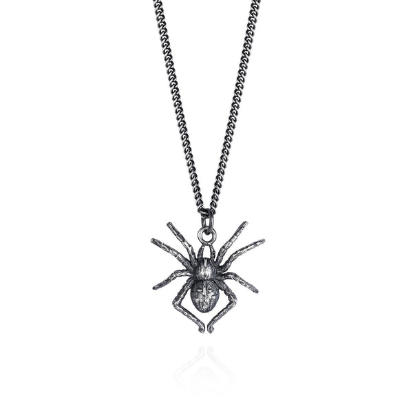 Dark Silver Spider Necklace