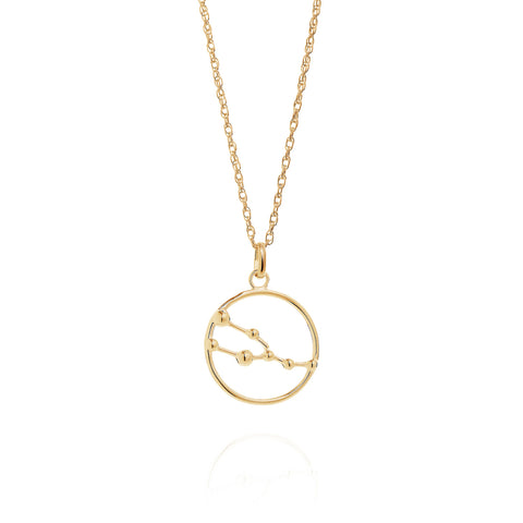 Gold Taurus Astrology Necklace