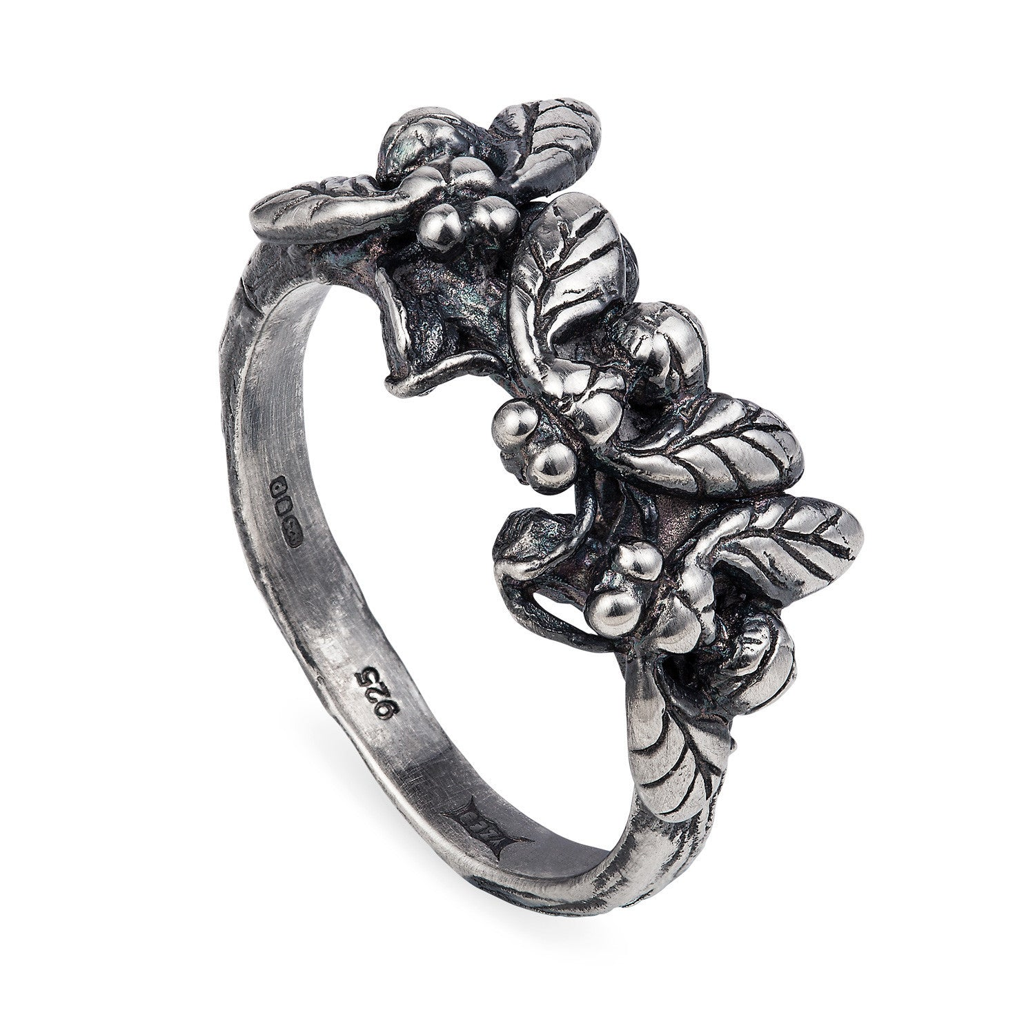 Dark Silver Three Fly Swarm Ring