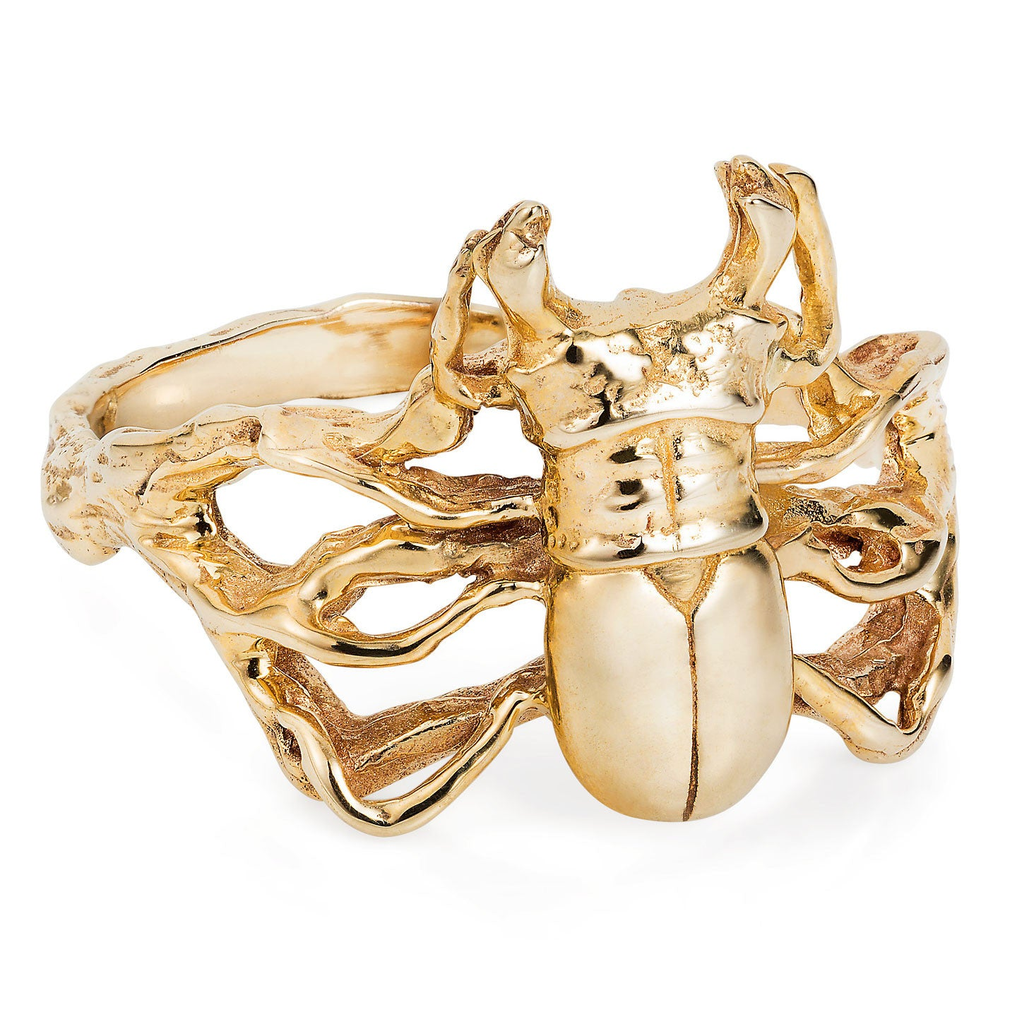 9ct Gold Little Stag Beetle Ring by Yasmin Everley