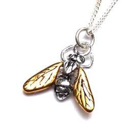 Gilded Hoverfly Necklace with Black Diamonds
