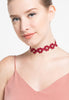 Garbera Maroon Choker - House of Jealouxy
