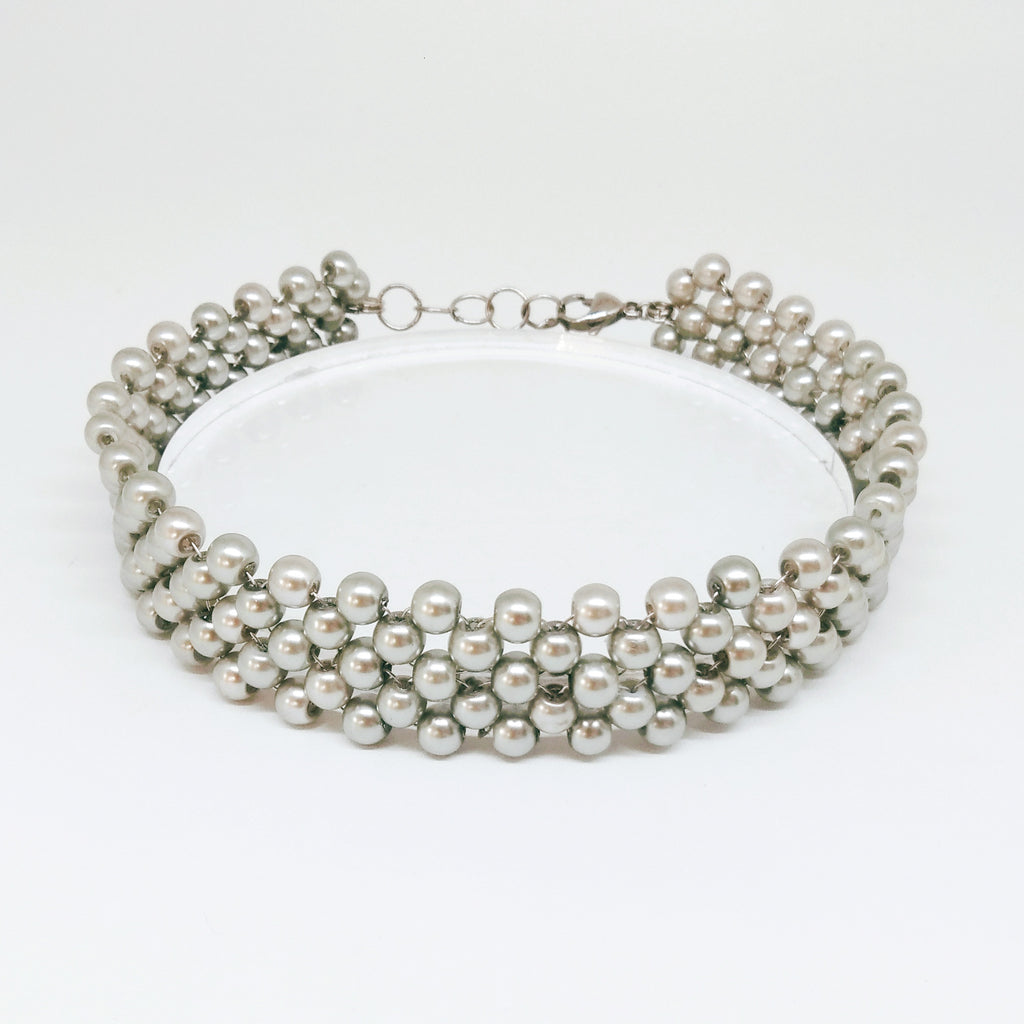 Pearl Cool Gray Choker - House of Jealouxy
