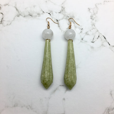 Asti Green Marble Earrings